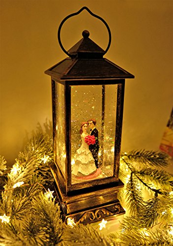 Eldnacele Battery Operated Lighted Wedding Snow Globle Water Snow Glitter Globe Wedding Lantern Decor Bride and Bridegroom
