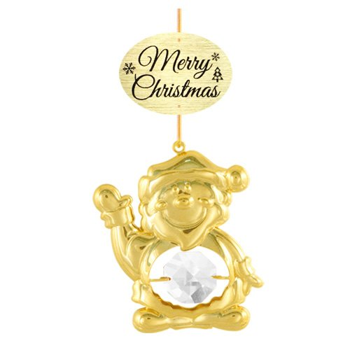 "24K Gold Plated Santa Claus with Logo ""Merry Christmas"" Ornament with Clear Swarovski Crystal Element"