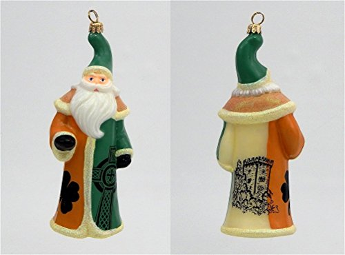 Joy to the World – Ireland Flag Santa – Blown Glass Ornament
