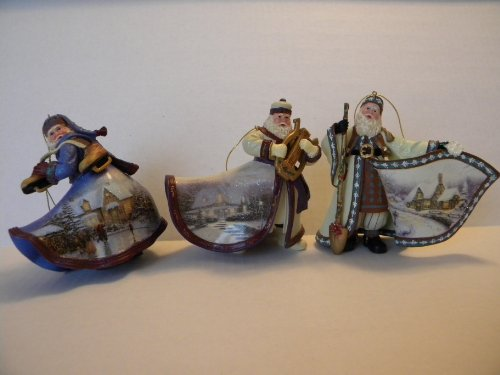 Thomas Kinkade Old World Santa Ornaments (Set of 3) Issue #6
