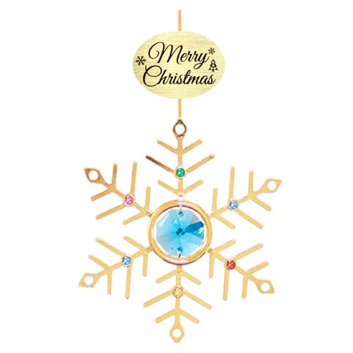 "24K Gold Plated Small Snowflake with Logo ""Merry Christmas"" Ornament with Blue Swarovski Crystal Element"