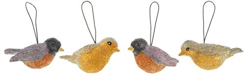 Set of 4 Blossom Bucket 2.5″ Resin Robin Ornaments
