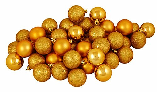 60ct Antique Gold Shatterproof 4-Finish Christmas Ball Ornaments 2.5″ (60mm)