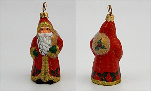 Joy to the World – Mini Schaller Red Crackle Santa – Blown Glass Ornament