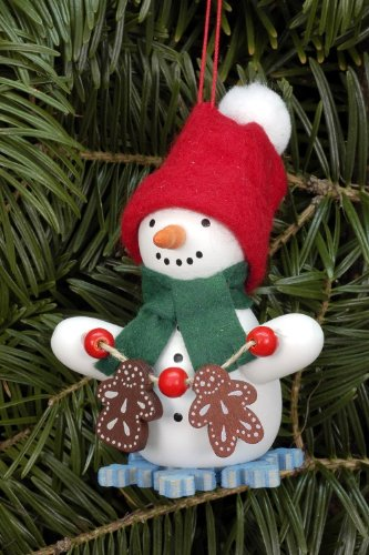 Tree ornaments Tree ornament Snowman with Ginger Bread – 6,0 x 8,0cm / 2.4 x 3.1inch – Christian Ulbricht