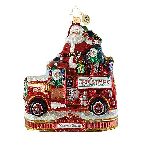 Christopher Radko Festive Fire Truck Fun Christmas Ornament