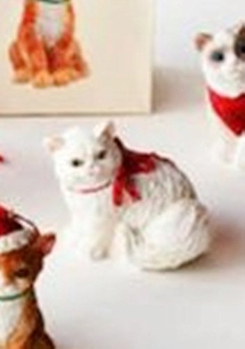 One Hundred 80 Degrees Cat Ornament with Coordinated Bag (White Red Bow)