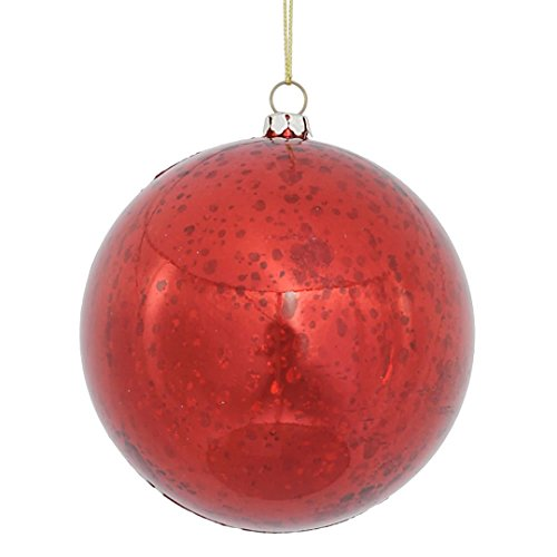 Vickerman M166303 Ball with Mercury Finish in 6 to a Bag, 100mm, Shiny Red