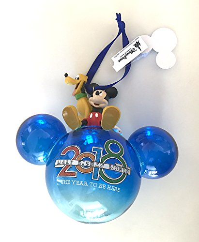 Disney Parks 2018 Mickey Mouse Head Ears Clear Blue Glass Ornament
