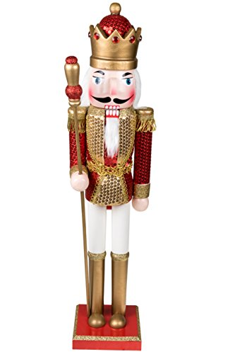 King Nutcracker | Traditional Christmas Decor | With King's Royal Scepter | Wearing Red, Gold, White Sequin Shirt | Perfect for Any Collection | Perfect for Shelves & Tables | 100% Wood | 24″ Tall