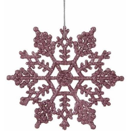 Vickerman 4″ Glitter Snowflake Christmas Ornaments, Pack of 12