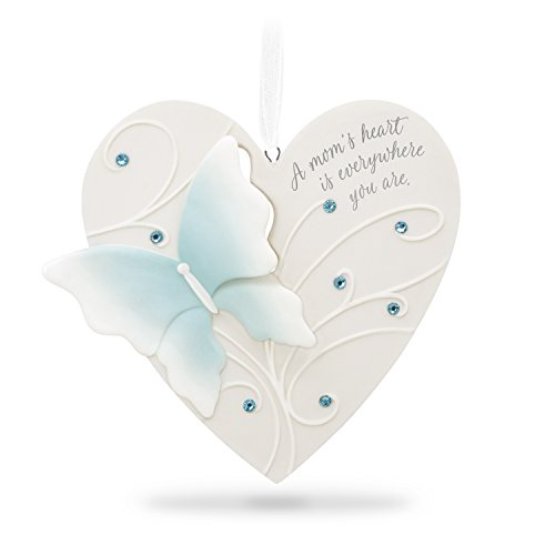 Hallmark Keepsake 2018 Mom Thanks Heart Butterfly Porcelain Year-Dated Christmas Ornament