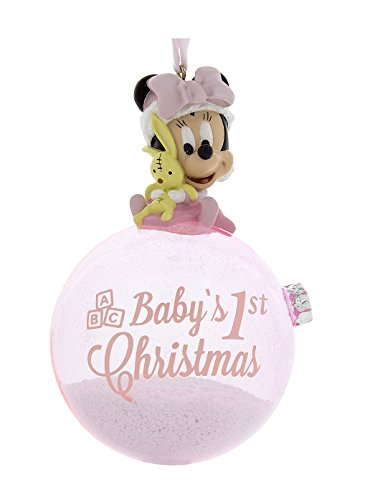 Disney Parks Pink Baby Minnie Mouse Baby's First Christmas Ornament with Snow