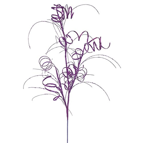 Vickerman QG164506 Glitter Curly Spray with Paper Wrapped Wire Stem in 6/Bag, 35″, Purple
