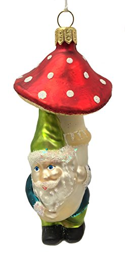 Gnome Carrying Red Toadstool Mushroom Polish Glass Christmas Ornament Decoration