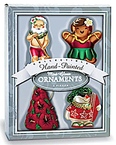 Glass Island Holiday Hawaiian Christmas Mini Ornaments – Set of 4
