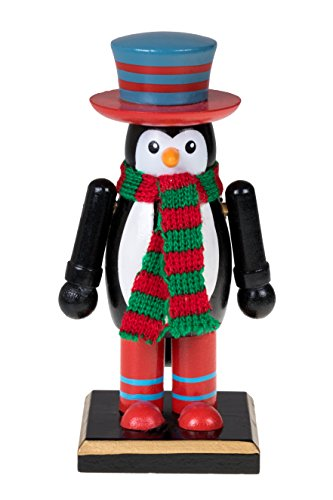 Traditional Christmas Penguin Nutcracker by Clever Creations | Wearing Red and Green Scarf with Blue and Red Top Hat | 6″ Tall Perfect for Shelves and Tables | 100% Wood