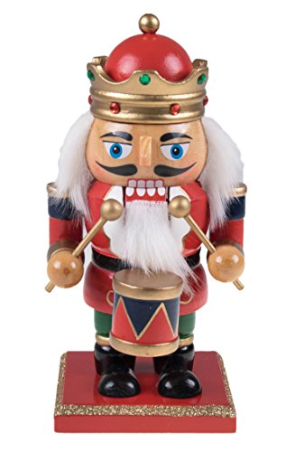 Traditional King Nutcracker by Clever Creations | Collectible Wooden Christmas Nutcracker | Festive Holiday Décor | Chubby Style | Red and Blue | Jeweled Crown | Holding Drum | 100% Wood | 7″ Tall