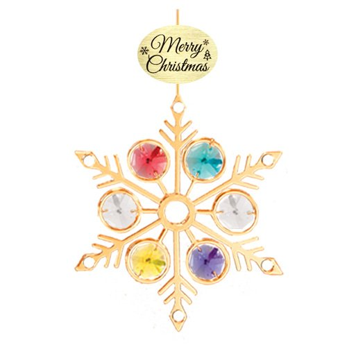 "24K Gold Plated Large Snowflake with Logo ""Merry Christmas"" Ornament with Mixed Swarovski Crystal Element"