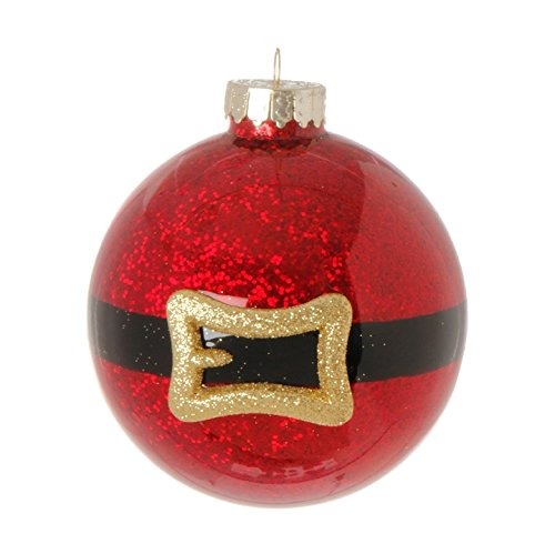 RAZ Imports – 4 Inch Santa Claus Red Glitter with Gold Belt Buckle Ball Christmas Tree Ornament