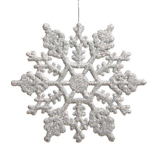 Vickerman Glitter Snowflake Christmas Ornaments with 12 per PVC Box, 8″, Silver