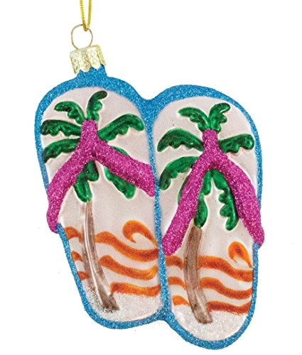 Blown Glass Coastal Flip Flop Ornament 4.25 Inches x 2.75 Inches