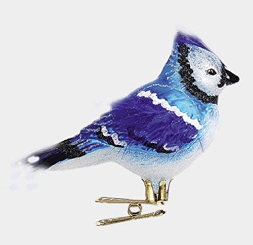 Blue Jay Bird Clip On Polish Glass Christmas Ornament Animal Wildlife Decoration