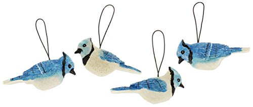 Blossom Bucket Set of 4 2.5″ Resin Blue Jay Ornaments