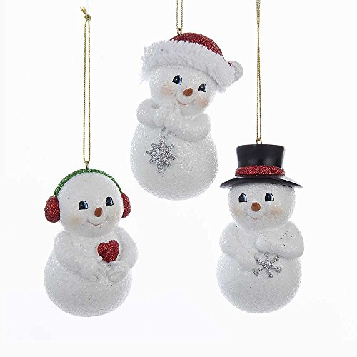 Kurt Adler YAMC9211 3.75″ Resin Chubby Snowman Ornament Set of 3
