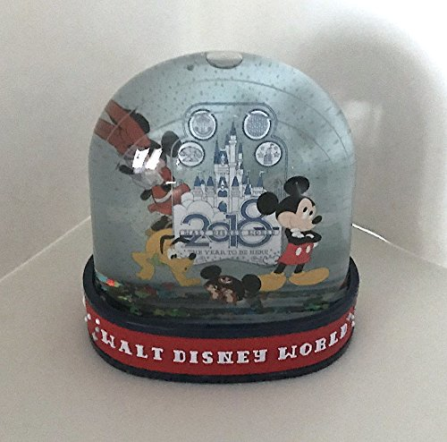 Walt Disney World 2018 Mickey Minnie Mouse The Year to Be Here Plastic Snowglobe