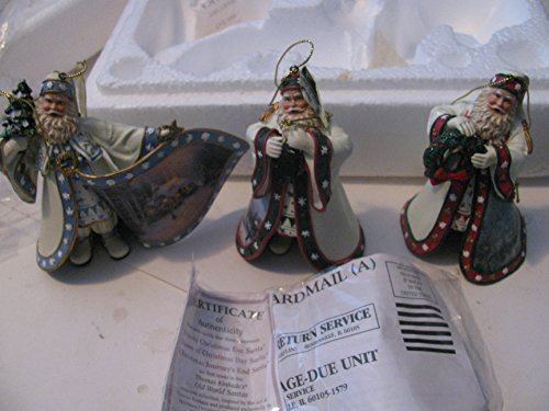 Thomas Kinkade Old World Victorian Santa Ornaments Issue 1 Set of 3