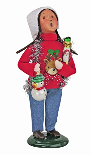 HOLIDAY FIGURINES – BYERS CHOICE CHRISTMAS SWEATER GIRL WITH SNOWMAN ORNAMENT