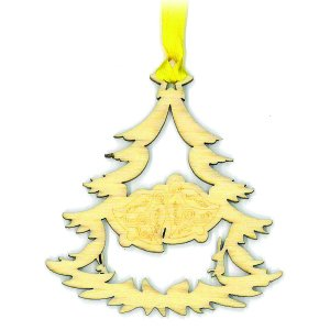 Crystal Delight by Mascot Souvenir Laser Cut Pressed Wood Christmas Tree w/Bells Ornament or Bookmark (Set of 6)