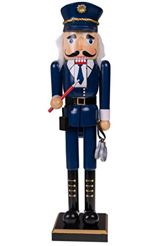 Traditional Police Officer Nutcracker | Traditional Uniform, Handcuffs and Baton | Perfect for Any Collection| Festive Christmas Decor | Perfect for Shelves and Tables | 100% Wood | 15″ Tall