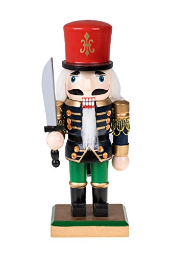 Traditional Soldier Chubby Nutcracker with Sword and Red Hat by Clever Creations | Festive Christmas Decor | 8″ Tall Perfect for Shelves and Tables | Collectible Wooden Nutcracker