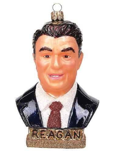 President Reagan Bust Polish Glass Christmas Ornament Republican GOP Decoration
