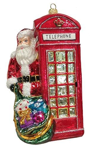 Santa with English Telephone Booth Polish Glass Christmas Tree Ornament England