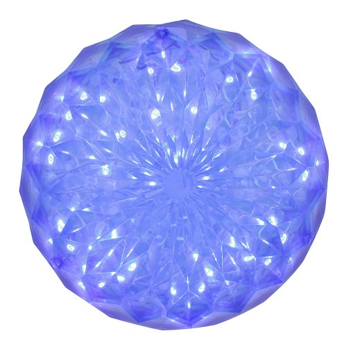 Vickerman LED Crystal Ball Ornament Featuring 30 Lights for Indoor/Outdoor Use, 6″, Blue