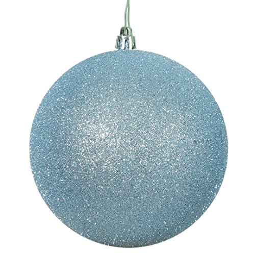 Vickerman N592532DG Glitter Ball Ornament with Shatterproof UV Resistant, Pre-drilled cap Secured & 6″ of Green Floral Wire, 10″, Baby Blue