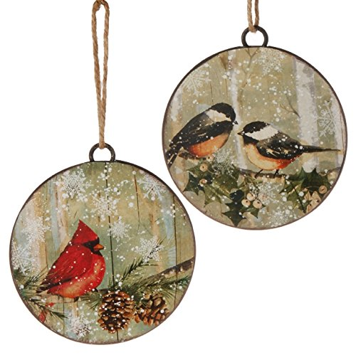 RAZ Imports 4″ Bird Disc Ornament – Set of 2