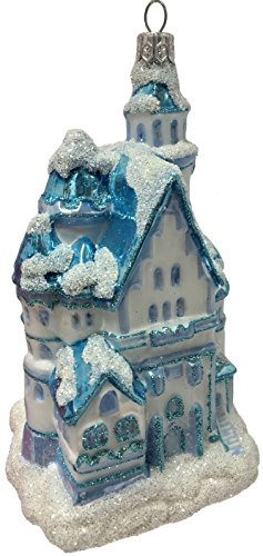 Snow Covered Neuschwanstein Castle Polish Glass Christmas Ornament Germany
