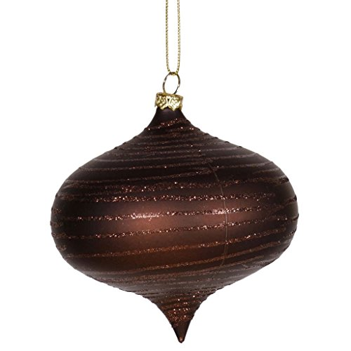 Vickerman Chocolate Brown Glitter Striped Shatterproof Christmas Onion Ornament 4″ (100mm)