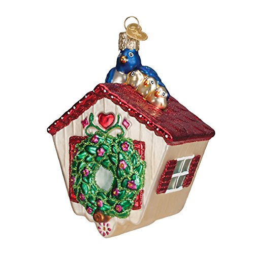 Old World Christmas Spring Birdhouse Glass Blown Ornament