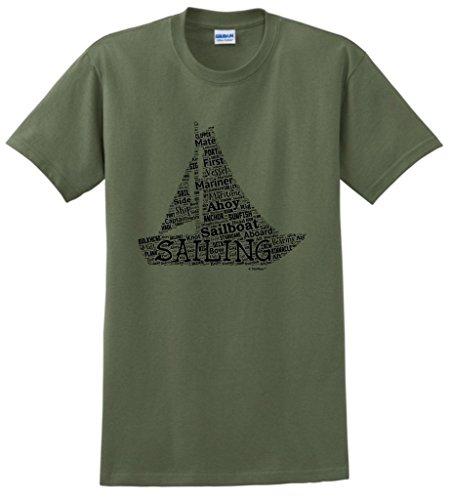 ThisWear Sailing Birthday Gift Sailing Word Collage Sailing Fan Gift T-Shirt Large MlGrn