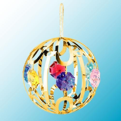 24k Gold Large Crystal Ball – Multicolored Swarovski Crystal