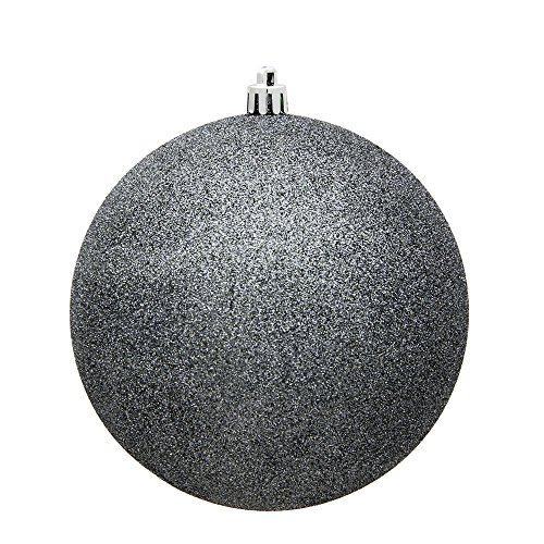 Vickerman 3″ Pewter Glitter Ball Christmas Ornament with Drilled and Wired Cap, 12 per Bag