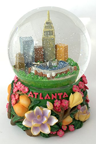 Atlanta Georgia Peach Home of the Braves Stadium Southern Magnoia Musical Snow Globe Glitterdome 100mm