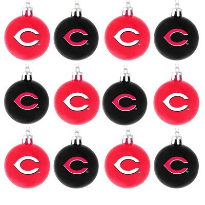 Forever Collectibles MLB Cincinnati Reds Plastic Ball Ornament Set (12 Pack), Red, One Size