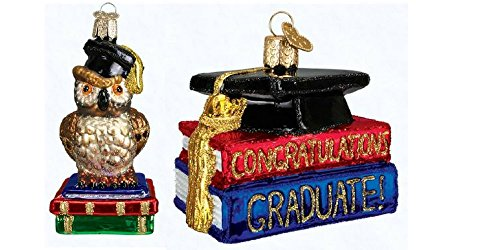 Graduation Owl and Congrats Graduate set of glass blown ornaments by Old World Christmas
