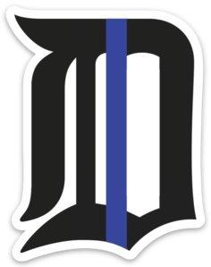 Retro Kid Detroit Michigan Police/Law Enforcement – Thin Blue Line Car Decal Window Sticker – Premium Quality Vinyl – Durable & Weatherproof – Made in US by